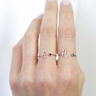 Custom Initial Birthstone Ring • Personalized Sterling Silver Initials Ring • Custom Name Gemstone Mother Ring • Mother Child Ring • RM06F48