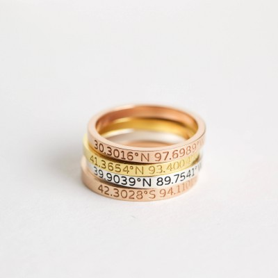 Custom Location Coordinates Ring • Dainty Coordinates Stackable Band • Latitude Longitude Ring • Personalized GPS Location Jewelry • RM22F30