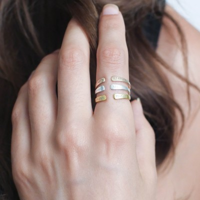 Custom Midi Ring • Stacking Name Ring • Personalize Ring • Adjustable Skinny Ring • Gift for Mom • Stocking Stuffer • Christmas Gift RM28F30