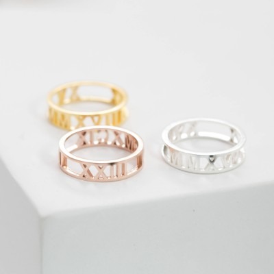Custom Roman Numerals Ring • Date Ring • Personalize Numeral Jewelry • Anniversary Ring • Stackable Engagement Ring • Promise Ring • RH03F30