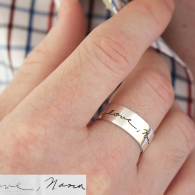 FATHER'S DAY GIFT • Memorial Custom Signature Mens Ring • Actual Handwriting Band Ring • Eternity Ring • Wedding Band • Unisex Ring • RM23