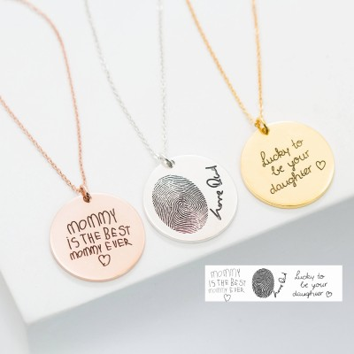 Handwriting Necklace • Custom Handwriting Jewelry • Signature Disc Necklace • Fingerprint Necklace • CHRISTMAS GIFT • Memorial Gift • NM20