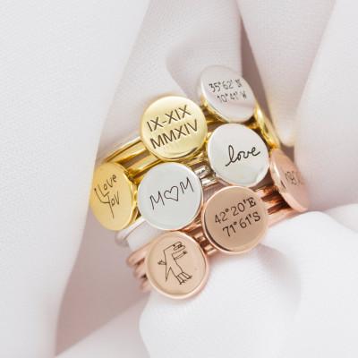 Memorial Handwriting Disc Ring • Actual Handwriting Band Ring • Gold Disk Ring • Nameplate Ring •  Logo Disc Ring • Minimalist Ring • RM20