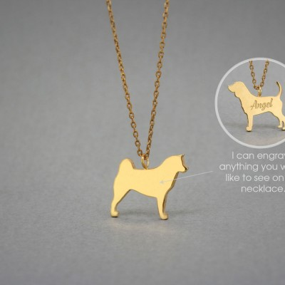 18K Solid GOLD Tiny AKITA Name Necklace • Akita Inu • Akita Necklace • Name Necklace • Dog Breed • Dog Necklace • Gold Necklace • Akita Gift