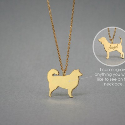 18K Solid GOLD Tiny AUSTRALIAN SHEPHERD Name Necklace • Beagle Necklace • Name Necklace • Dog Breed • Dog Necklace • Gold Necklace