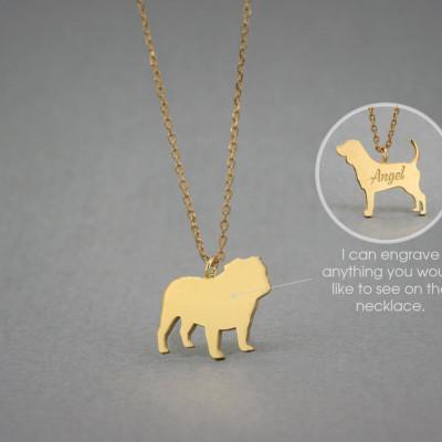 18K Solid GOLD Tiny ENGLISH BULLDOG Name Necklace - English Bulldog Necklace - Gold Dog