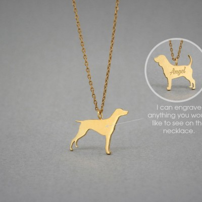 18K Solid GOLD Tiny GERMAN Shorthaired POINTER  Name Necklace - Pointer Necklace - Gold Dog