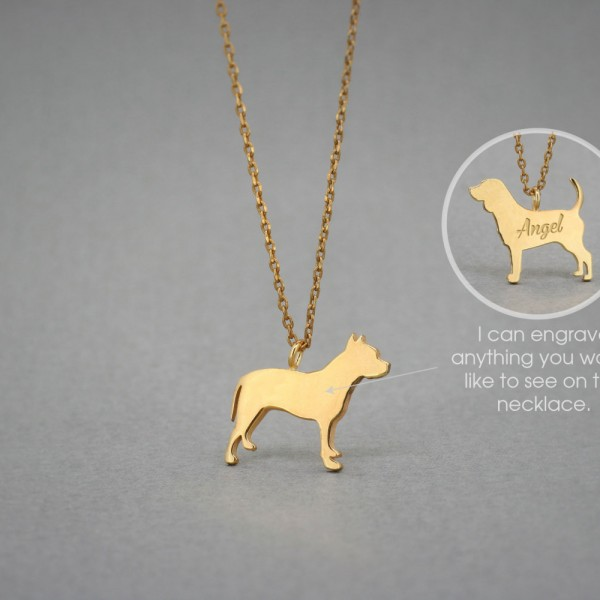 18K Solid GOLD Tiny PITBULL Name Necklace - Pitbull Necklace - Gold Dog Necklace