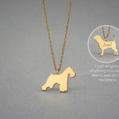 18K Solid GOLD Tiny SCHNAUZER Name Necklace - Schnauzer Necklace - Gold Dog Necklace