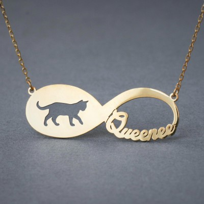 18k Solid Gold Personalised INFINITY SHORTHAIR CAT Necklace - 18k Gold Shorthair Cat Necklace - Name Necklace