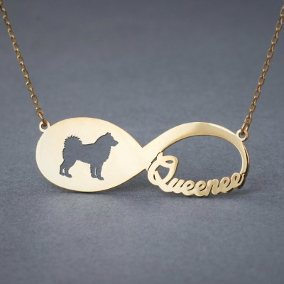 18k Solid Gold Personalised INFINITY SIBERIAN HUSKY Necklace - 18k Gold Husky Necklace - Name Necklace