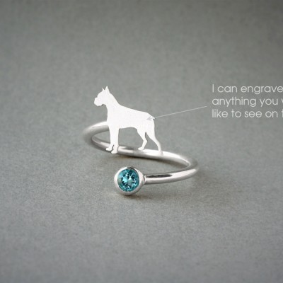 Adjustable Spiral BOXER BIRTHSTONE Ring / Boxer Birthstone Ring / Birthstone Ring / Dog Ring / Silver, Gold Plated or Rose Plated.
