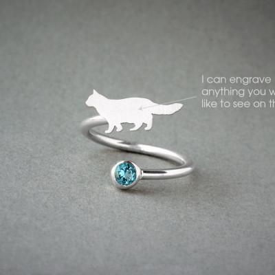 Adjustable Spiral CAT BIRTHSTONE Ring / Cat Longhaired Birthstone Ring / Birthstone Ring / Dog Ring