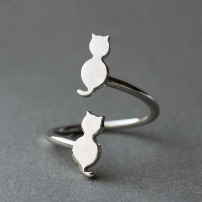 Adjustable Spiral Cat Ring / Double Cat Ring /  Silver, Gold Plated or Rose Plated.