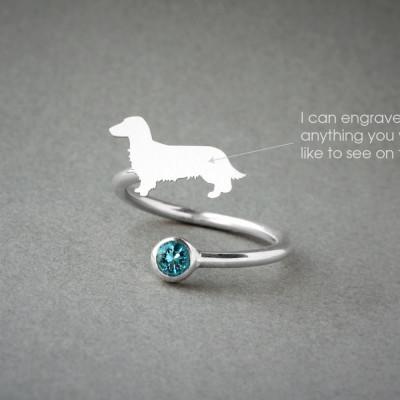 Adjustable Spiral DACHSHUND BIRTHSTONE Ring / Doxie Longhaired Birthstone Ring / Dachshund Ring / Dog Ring