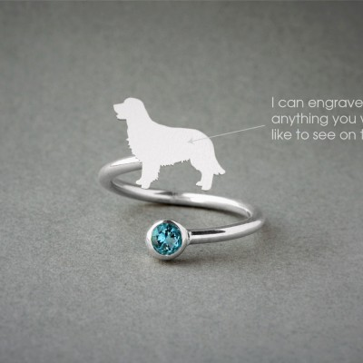 Adjustable Spiral GOLDEN RETRIEVER Ring / Golden Retriever Birthstone Ring / Birthstone Ring / Dog Ring