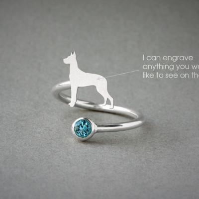 Adjustable Spiral GREAT DANE BIRTHSTONE Ring / Great Dane Birthstone Ring / Birthstone Ring / Dog Ring