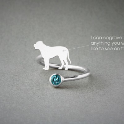 Adjustable Spiral MASTIFF BIRTHSTONE Ring / English Mastiff Birthstone Ring / Birthstone Ring / Dog Ring
