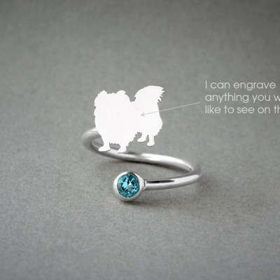 Adjustable Spiral PEKINGESE BIRTHSTONE Ring / Pekingese Longhaired Birthstone Ring / Birthstone Ring / Dog Ring