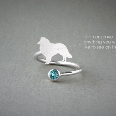 Adjustable Spiral SHETLAND SHEEPDOG BIRTHSTONE Ring / Collie Birthstone Ring / Birthstone Ring / Dog Ring