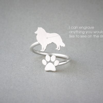 Adjustable Spiral SHETLAND SHEEPDOG and PAW Ring / Collie Ring / Paw Ring /Dog Ring / Silver, Gold Plated or Rose Plated.