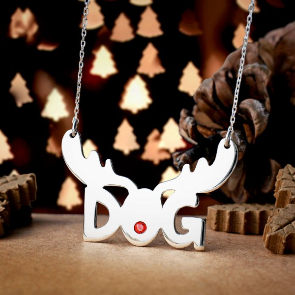CHRISTMAS DOG Necklace - ZIRCON Necklace - Dog Necklace - Christmas Necklace - Christmas Reindeer Necklaces - New Year - Christmas gift