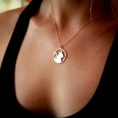 Circle Cat Charm Necklace / Silver, Gold Plated or Rose Plated.