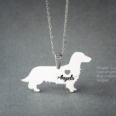 DACHSHUND LONGHAIRED NAME Necklace - Doxie Longhaired Necklace - Name Jewelry - Personalised Necklace - Dog breed Necklace - Dog Necklace