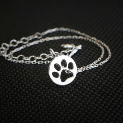 Disk Paw Print Bracelet / Circle Paw Print Bracelet / Silver, Gold Plated or Rose Plated.
