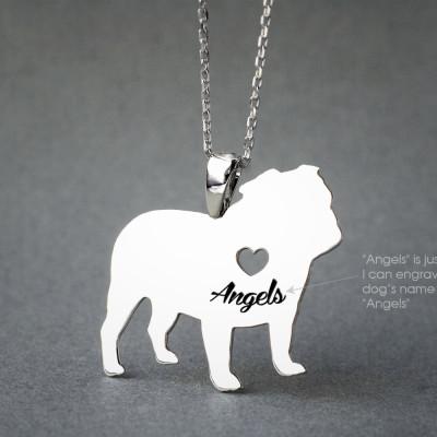 ENGLISH BULLDOG NAME Necklace - English Bulldog Name Jewelry - Personalised Necklace - Dog breed Necklace - Dog Necklaces