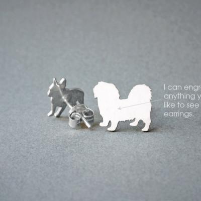 PEKINGESE SHORTHAIRED NAME Earring - Pekingese Name Earrings - Personalised Earrings - Dog Breed Earrings - Dog Earring