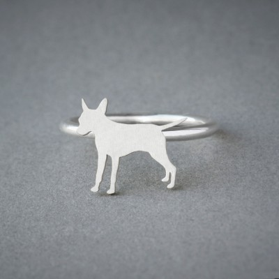 PINSCHER RING / Pinscher Ring / Silver Dog Ring / Dog Breed Ring / Silver, Gold Plated or Rose Plated.