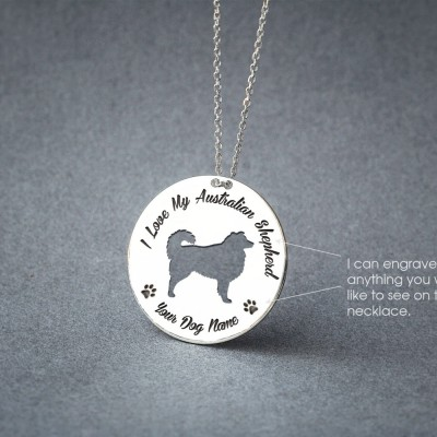 Personalised DISK AUSTRALIAN SHEPHERD Necklace / Australian Shepherd Necklace /  Dog necklace / Silver, Gold Plated or Rose Plated.