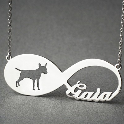 Personalised INFINITY PINSCHER Necklace - Pinscher necklace - Name Necklace - Memorial Necklace - Dog Necklace