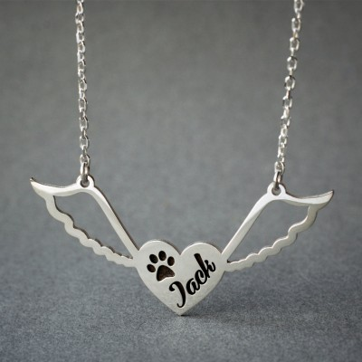 Personalized Winged Heart Paw Necklace / Angle Paw Necklace / Name Necklace /  Silver, Gold Plated or Rose Plated.