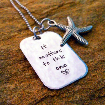 It matters to this one Necklace with Starfish Charm - Adoption Necklace - Adoption Support - Gotcha Day Gift - Adoption Gift for Mom