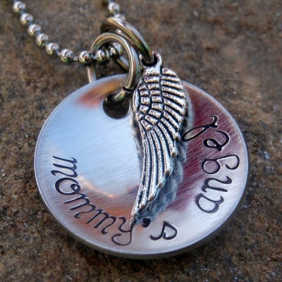 Memorial Jewelry - Personalized Jewelry - Necklace with Angel Wing - Remembrance Necklace - Angel Mommy - Angel Baby - Mommy's Angel