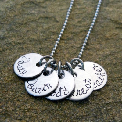 Name Pendants - Personalized Jewelry - Hand Stamped - Christmas Gift for Mom - Name Necklace - Personalized Gift for Her - Birthday Gift
