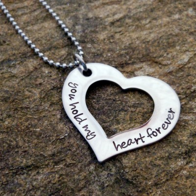 Open Heart Necklace - You hold my heart forever - Personalized Mother's Necklace - Hand Stamped - Birthday  Gift for Her - Graduation Gift