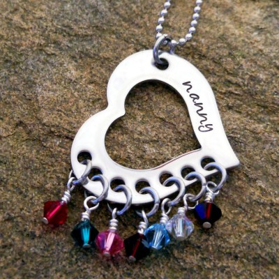 Personalized Birthstone Necklace - Grandma Jewelry - Mothers Necklace - Birthday Gift for Grandma - Christmas Gift for Her - Handmade
