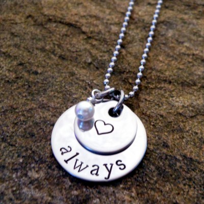 Personalized Necklace - Anniversary Gift for Her - Birthday Gift for Wife - Everyday Necklace - Hand Stamped - Always Necklace