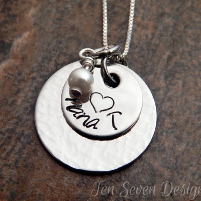 Personalized Necklace - Christmas Gift for Her - Hand Stamped Necklace - Mother's Necklace - Textured Necklace - Pendant with Pearl