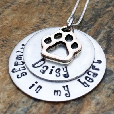 Personalized Paw Print Necklace - Dog Name - Cat Name - Gift for Her - Birthday Gift - Always In My Heart - Paw Print Charm Necklace
