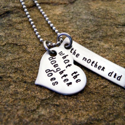 Sterling Silver Mother Daughter Necklace - What the daughter does the mother did - Graduation Gift for Her - Mother Wisdom - Daughter Bond