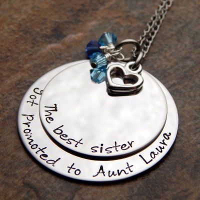 The Best Sister Got Promoted To Aunt Hand Stamped Necklace - Aunt Gift - Personalized Necklace - Birthstone Jewelry - Gift for Her