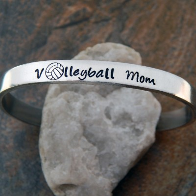 Volleyball Mom Cuff Bracelet - Christmas Gift for Mom - Hand Stamped Bracelet - Custom Gift for Her - Sports Mom Gift - Volley Ball Mom