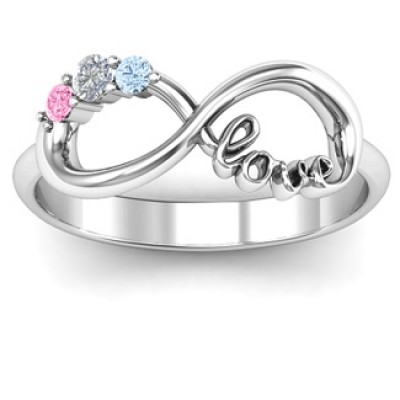 Customised Infinity Promise Ring With Birthstone Infinity Love Ring  - By The Name Necklace;
