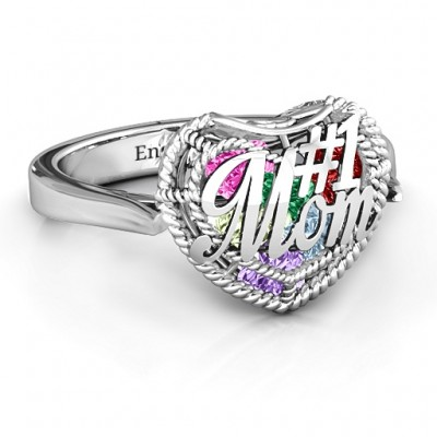 #1 Mom Caged Hearts Ring with Ski Tip Band - By The Name Necklace;