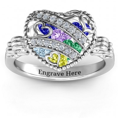 Sparkling Hearts Caged Hearts Ring with Butterfly Wings Band - By The Name Necklace;
