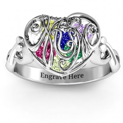 #1 Mom Caged Hearts Ring with Infinity Band - By The Name Necklace;